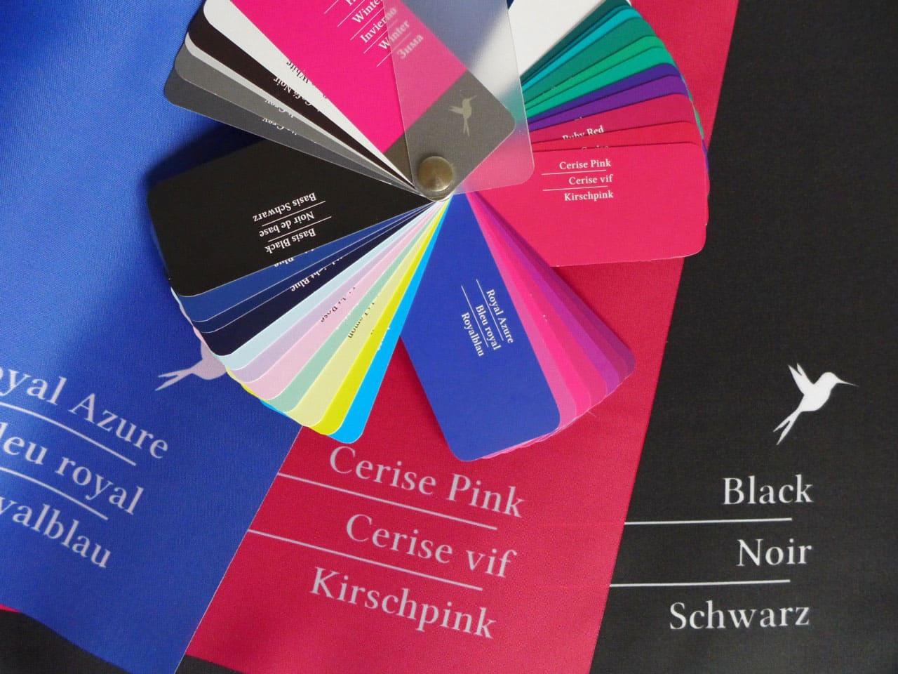 Tuchbeschriftung für Farb- und Stilberatung
