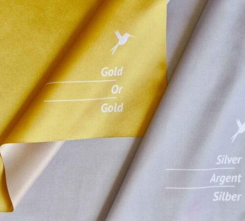 Gold-Silber-Tücher für Farbanalyse und Farbberatung