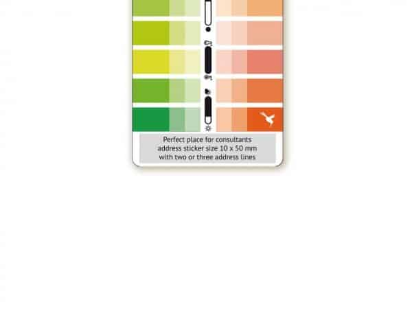 Farbpass mit Adressaufkleber