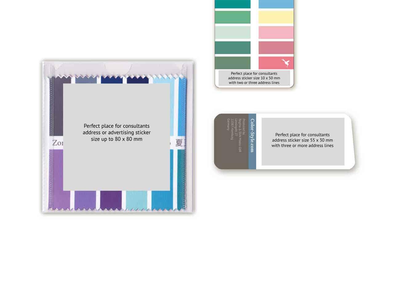 Farbpass-Sortiment mit Adress- oder Werbeaufkleber