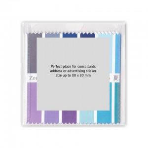 Stoff-Farbpass mit Werbeaufkleber