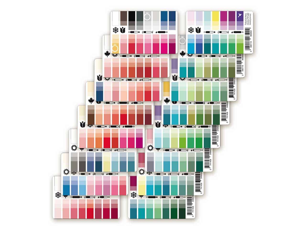 Farbpässe als Plastikkarten für 8 Mischtypen / Zwischentypen