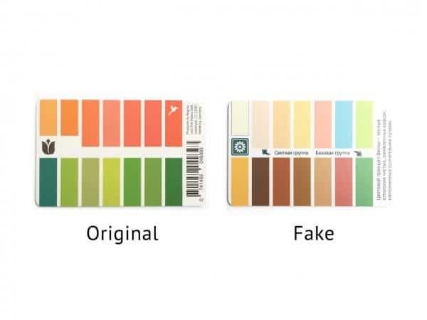 Original und Fälschung Karten-Farbpass