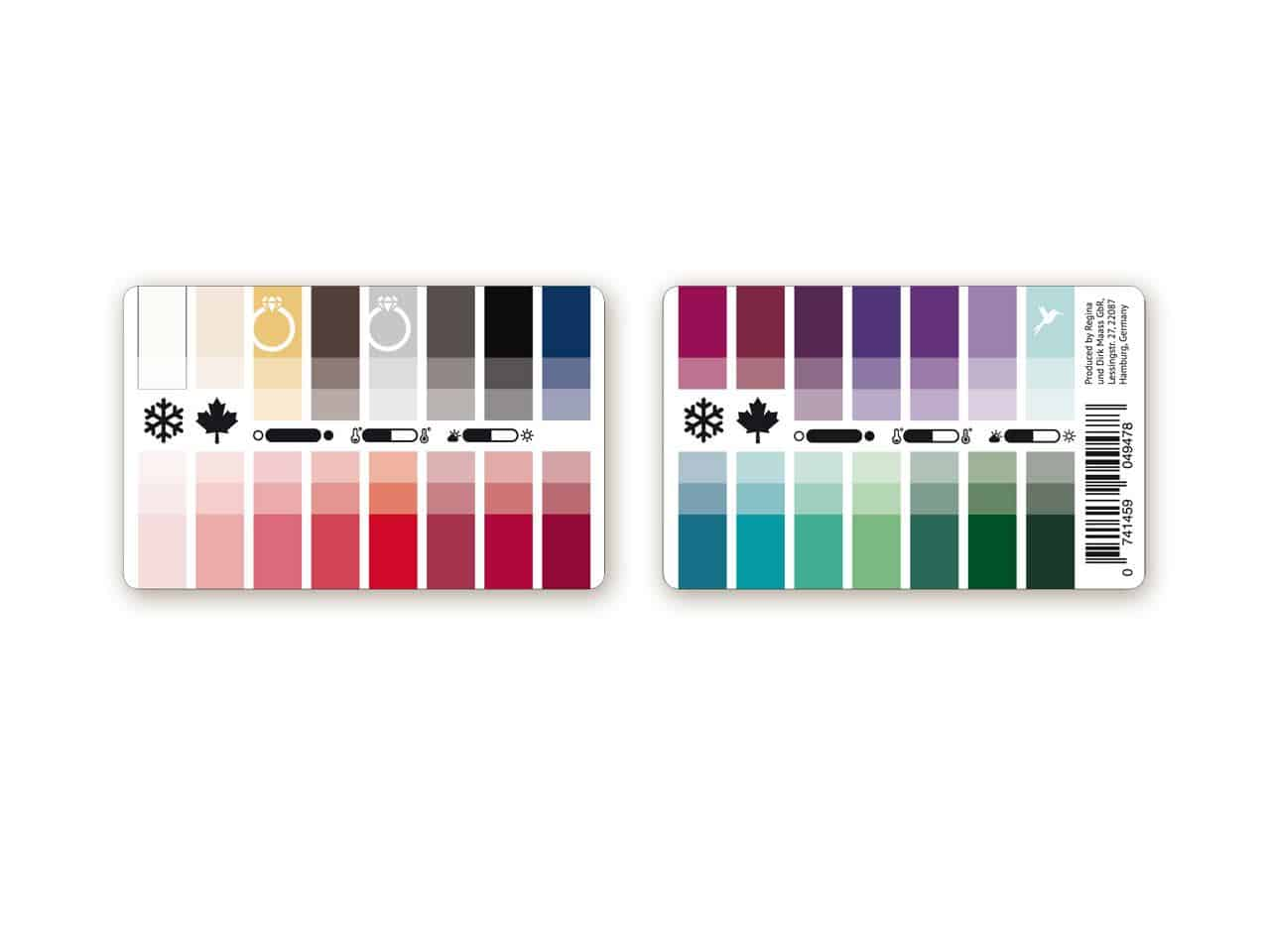 Farbtyp Winter-Herbst Farbpass als Plastikkarte